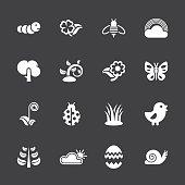 Spring Season Icons - White Series   EPS10