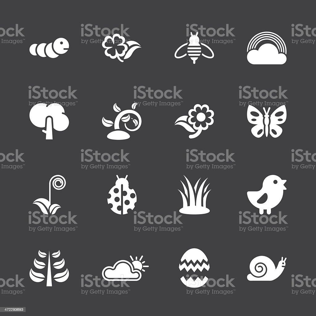 Spring Season Icons - White Series | EPS10 vector art illustration