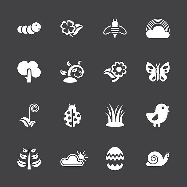 Spring Season Icons - White Series   EPS10 vector art illustration