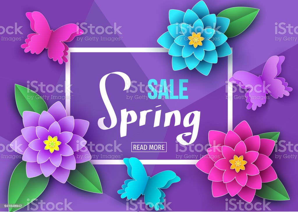Spring Season Sale Banner With Beautiful Flowers And Butterflies Royalty Free