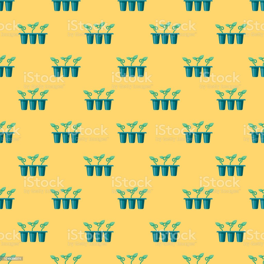 Spring Seedlings Seamless Pattern vector art illustration