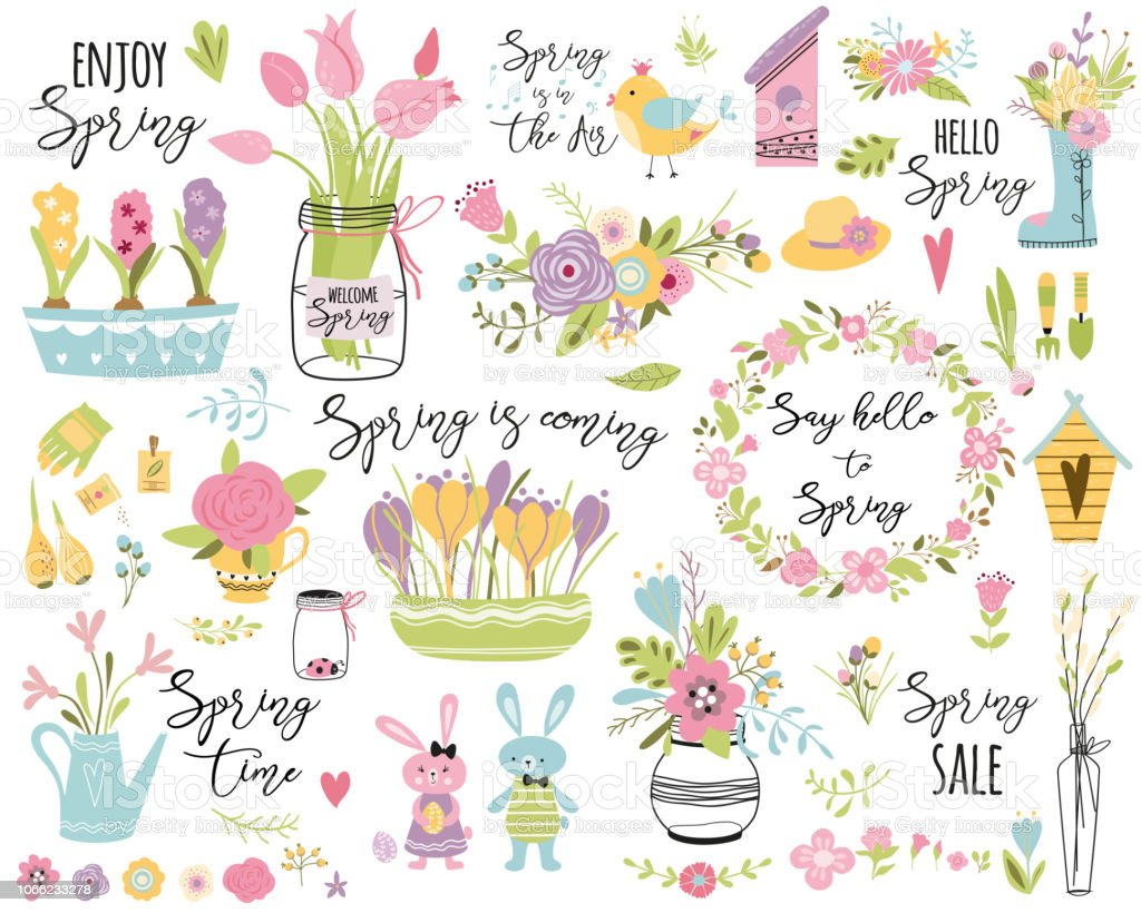 Spring set hand drawn elements flowers bird wreaths rabbit here Easter Cute vector illustration Typography spring quotes