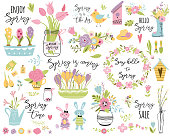 Spring set, hand drawn elements Typography spring quotes cute spring flowers bouquet birds wreaths, rabbit Easter Collection for print card poster label tag invitation sticker kit Vector illustration.