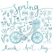 spring, set of blue icons and symbols with bike, inscription, vector illustration