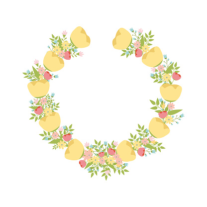Spring set, spring wreath of flowers spring flowers, bouquet, vector illustration.