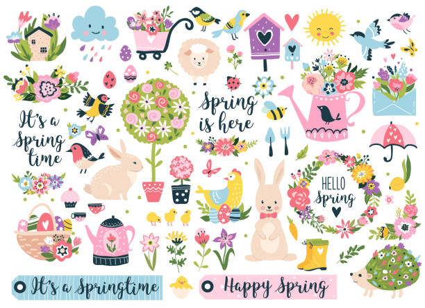 Spring set. Spring set, hand drawn elements- flowers, birds, wreaths, quotes and other. Perfect for scrapbooking, greeting card, party invitation, poster, tag, sticker kit. Vector illustration. springtime stock illustrations