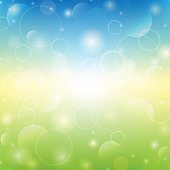 Spring shiny background. Green and blue colors. Vector illustrat