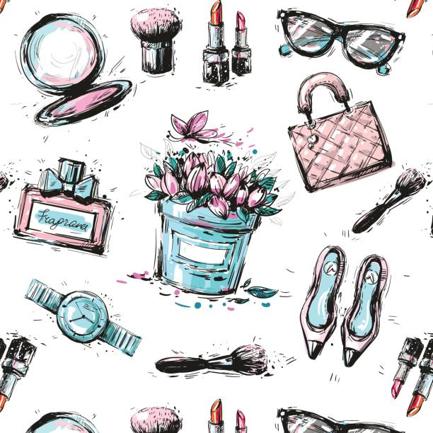 spring shopping pattern. accessories, clothing and fashion elements. vector - spring fashion stock illustrations, clip art, cartoons, & icons