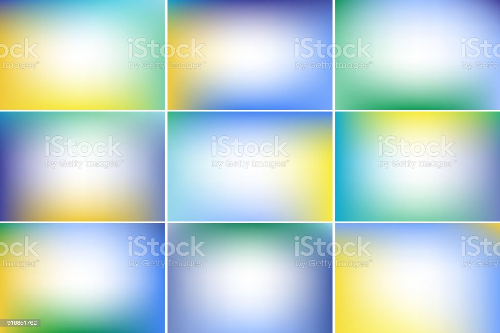 Spring sky banners. Blue, purple, green and yellow colors. Gradient vector backgrounds collection vector art illustration