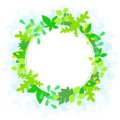 Flat design, round white frame embraced with plant sprouts, new leaves, fresh spring bright background . Free space for your text, message, logo.