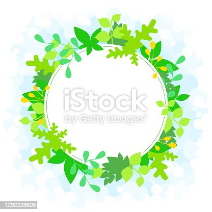 Spring, sprouting blank round frame