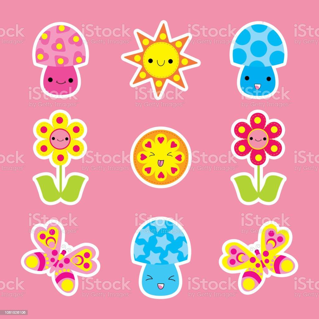 Ilustracion De Etiqueta Engomada De La Primavera Con Mariposas