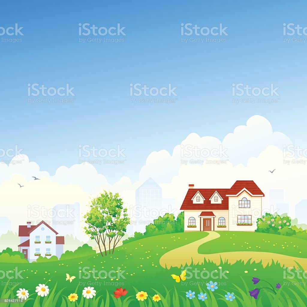 Spring suburbs vector art illustration