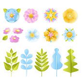 Spring, summer 3d paper cut floral design elements set. Vector craft handmade leaves and flowers, isolated on white background. Greeting card, holiday decoration carving symbols.