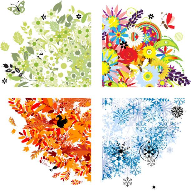 spring, summer, autumn and winter, corner illustrations - four seasons 幅插畫檔、美工圖案、卡通及圖標