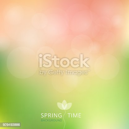 istock Spring summer autumn green and pink color tone with bokeh background. 929493886