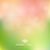 Spring summer autumn green and pink color tone with bokeh background. Vector illustration