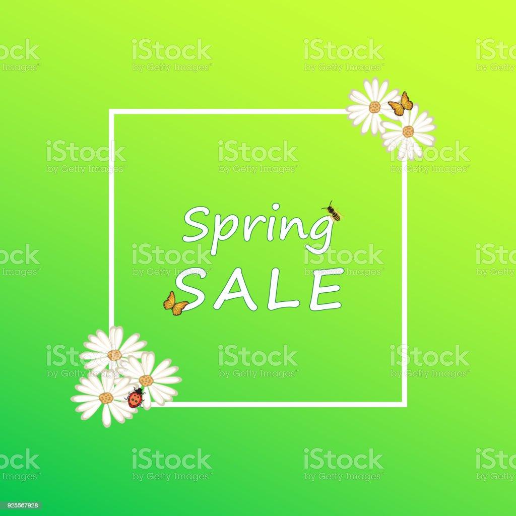 Frühjahr Sommer Hintergrund Grün Weiße Blumen Verkauf Zeichen Rahmen ...