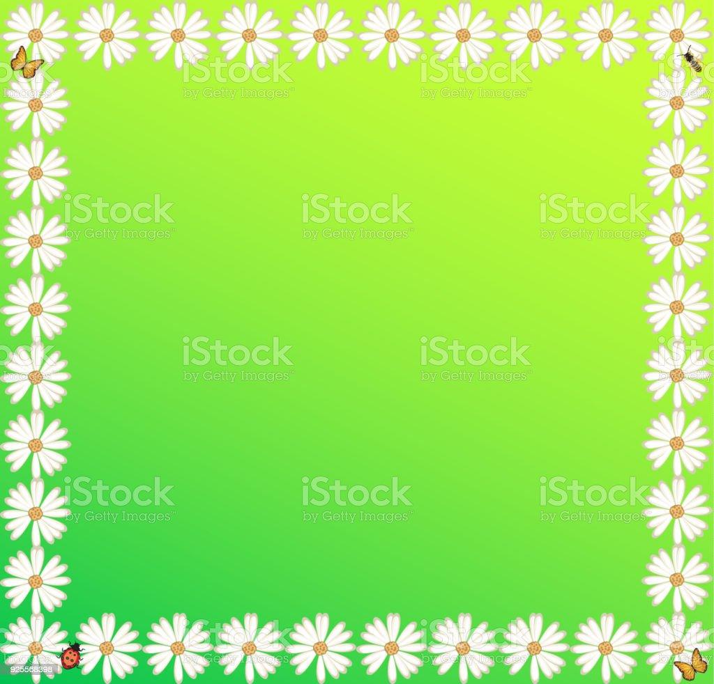 Frühjahr Sommer Hintergrund Grün Weiße Blumen Zeichen Rahmen Poster ...