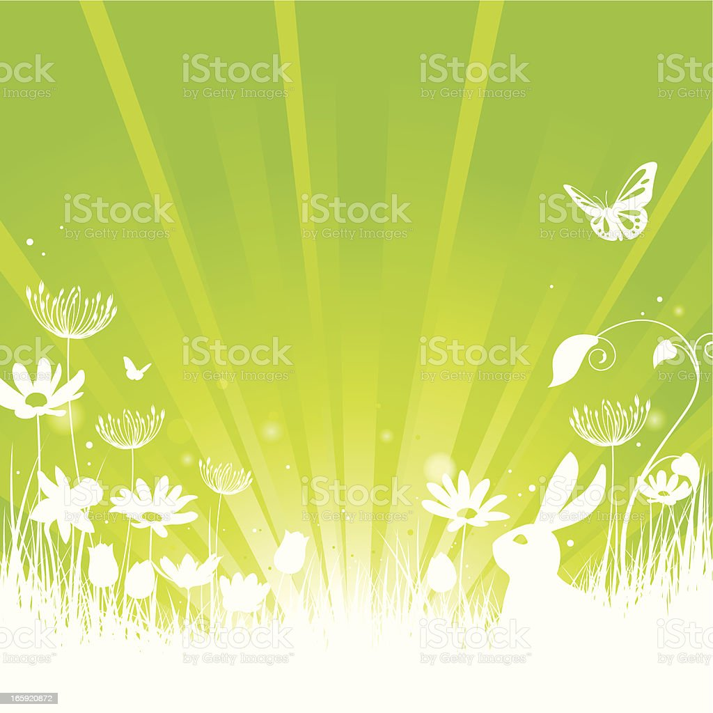 Spring Summer concept on green with rabbit, flowers & butterfly royalty-free stock vector art