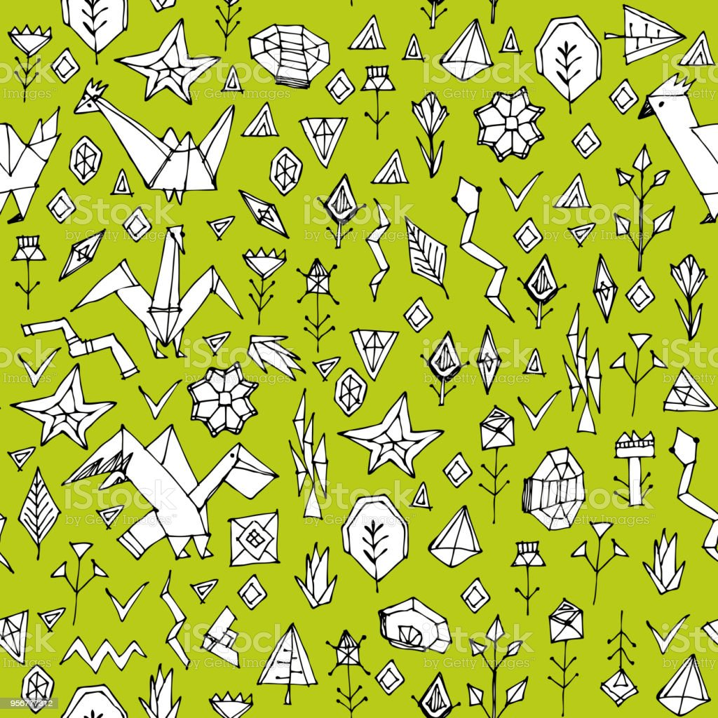 Spring Summer Geometric Seamless Pattern With Animals And Plants ...