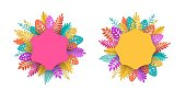 Spring, summer or autumn banner with a place for text surrounded by bright colorful leaves in the style of papercut, the design element can be used in the advertising of the offer, vector illustration
