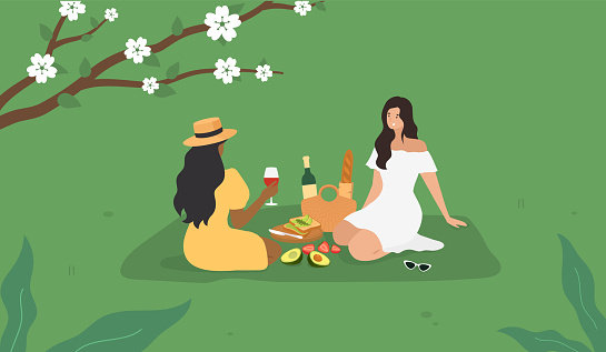 Spring Summer Picnic. Beautiful girls sitting on a green grass. Avocado toasts, baguette, wine. Vector