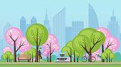 Spring summer public city park with sakura trees vector illustration