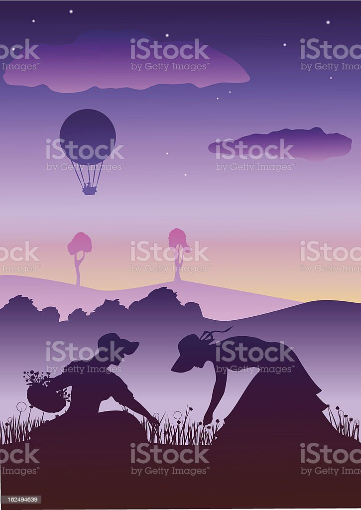 Spring sunset with two women royalty-free stock vector art