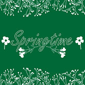 Spring text on green background. Vector illustration decorated with apricot branches.