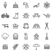 Spring Thin Line Outline Icon Set