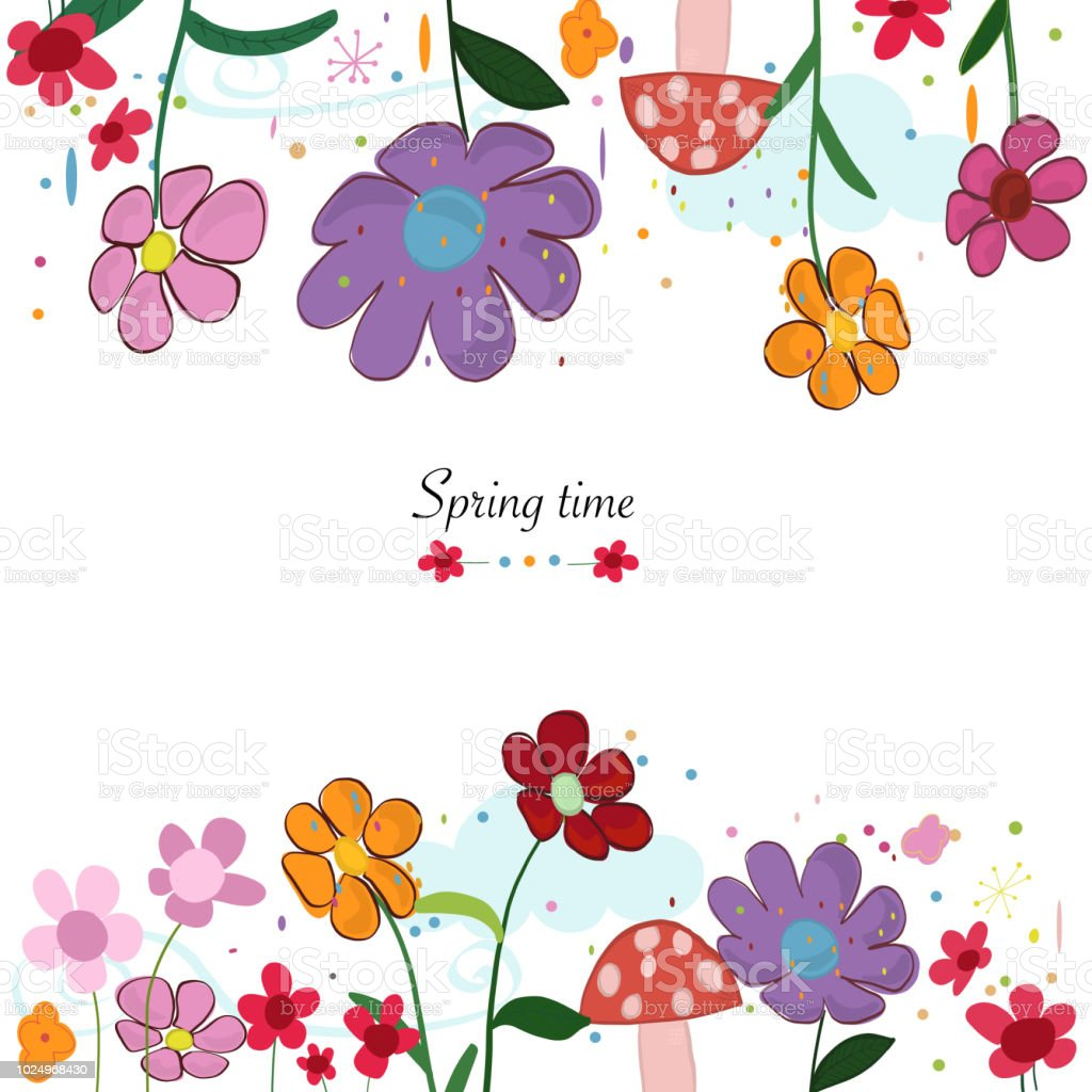 Spring Time Beautiful Floral Border With Spring Flowers Background