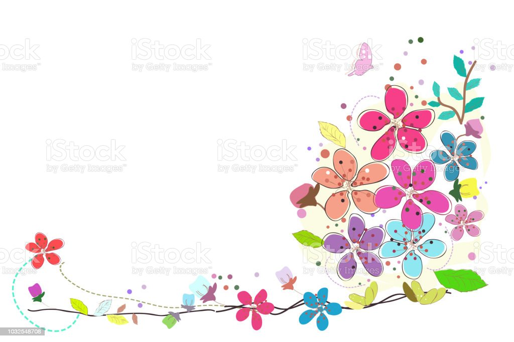 Spring Time Colorful Flowers Border Design Stock Illustration