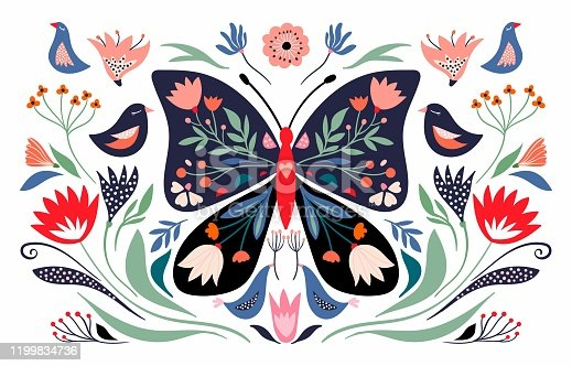 Spring time composition with floral butterfly and seasonal elements, flowers and birds; decorative poster/ banner