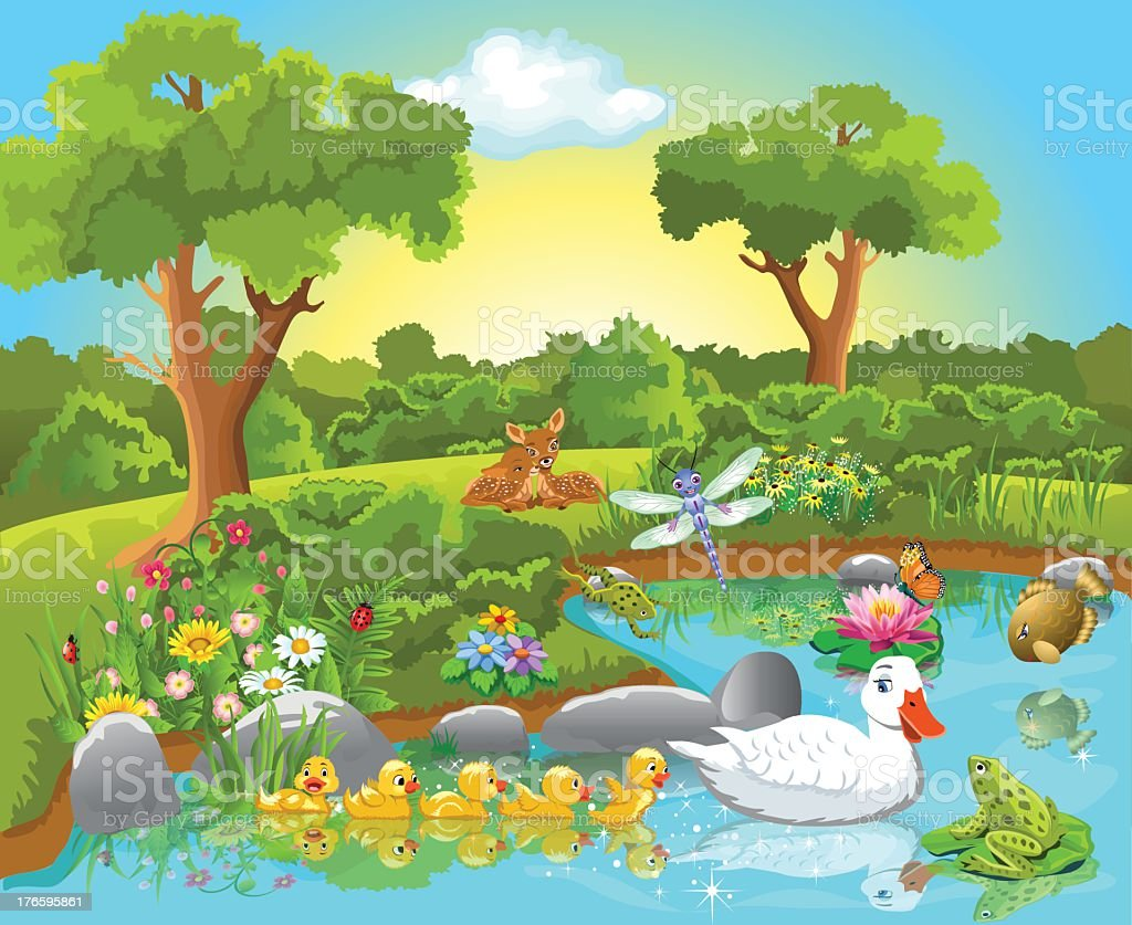 Spring time depiction of animals by a pond royalty-free stock vector art