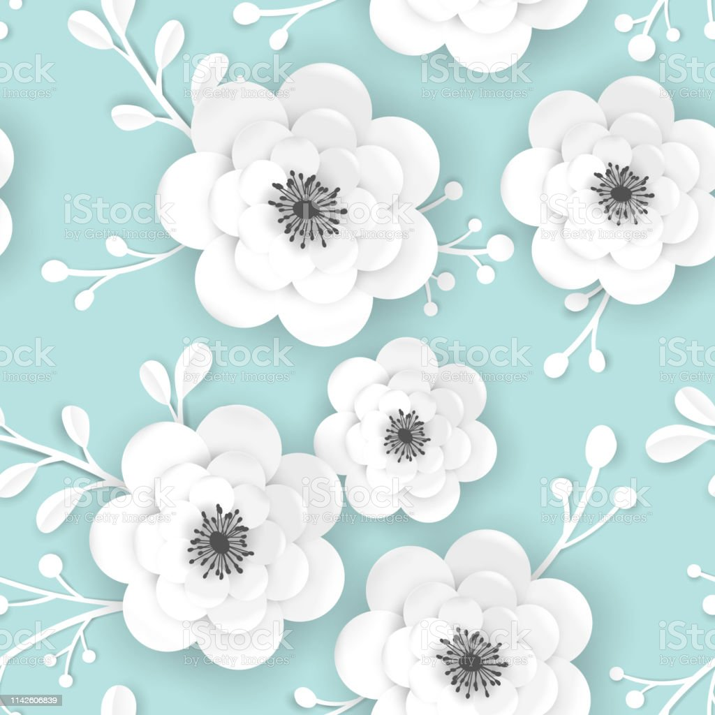 3d ペーパーカットの花と春の時間の花の背景布壁紙の印刷のための