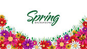 Spring time flowers sale banner and background. Vector ESP10 design.