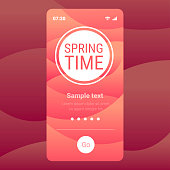 spring time hand drawn poster lettering banner invitation template smartphone screen mobile app copy space vector illustration