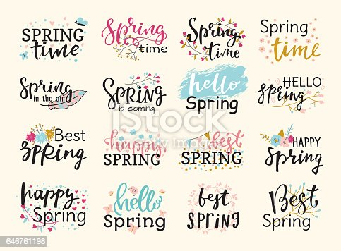 Spring time lettering text greeting card special spring typography hand drawn graphic vector illustration badge