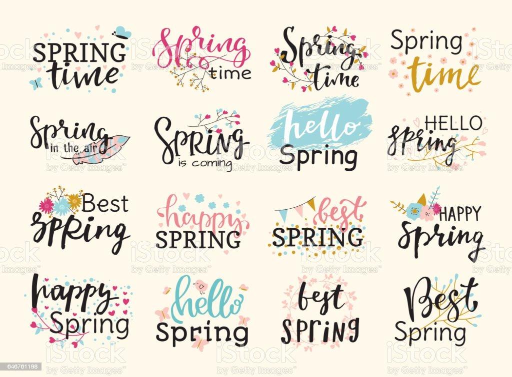 Temps de printemps lettrage main de typographie texte carte de voeux spéciale printemps dessinée insigne illustration graphique vectoriel - Illustration vectorielle