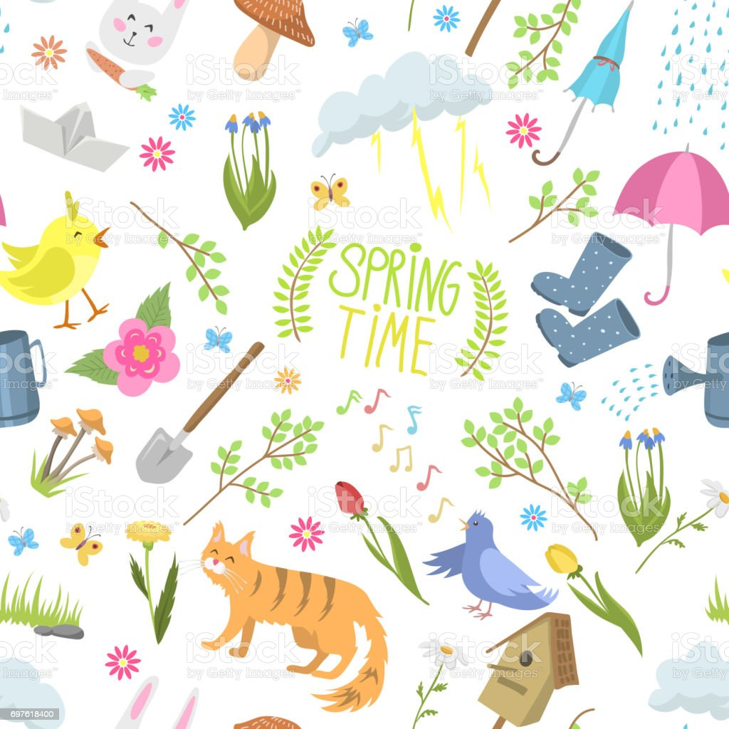 Spring time natural floral symbols icons beauty design nature spring time natural floral symbols icons beauty design nature vector seamless pattern background royalty free biocorpaavc