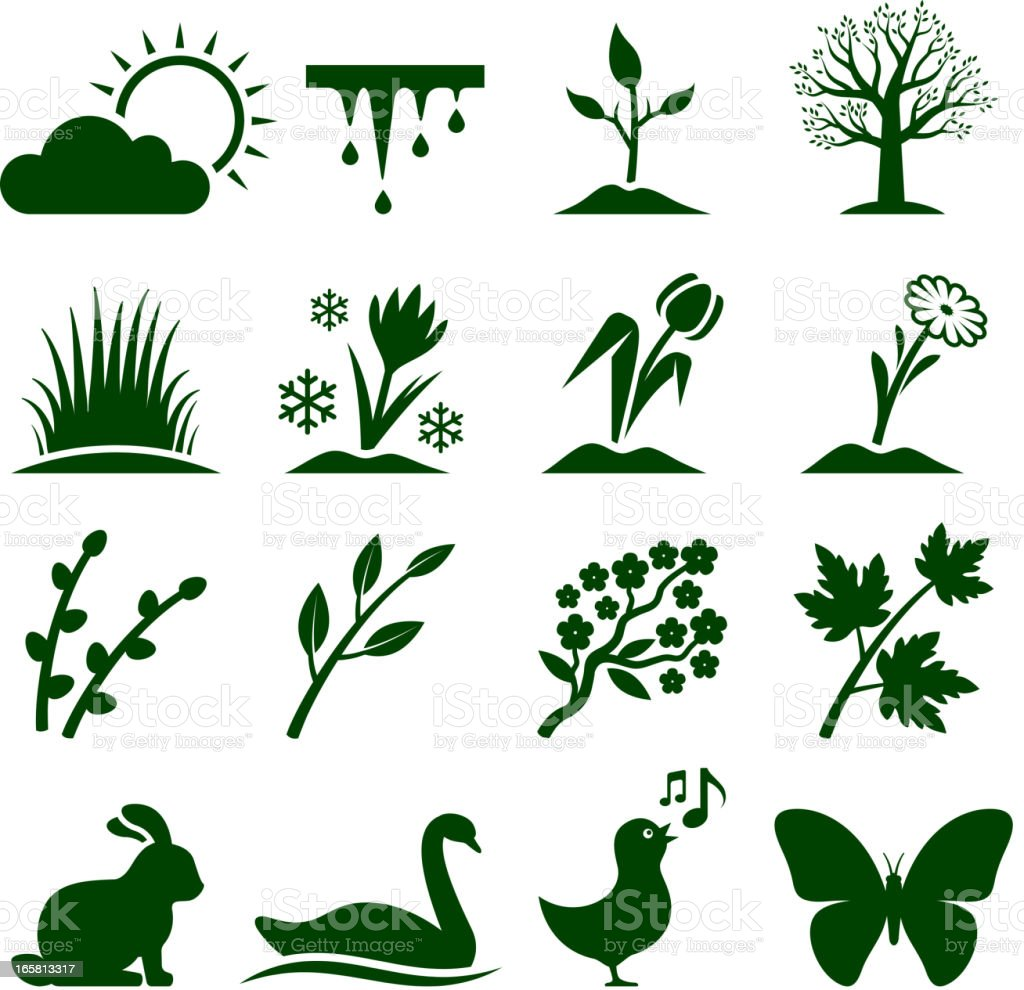 Spring time royalty free vector icon set.