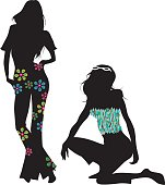 two women´s silhouettes in spring season´s style