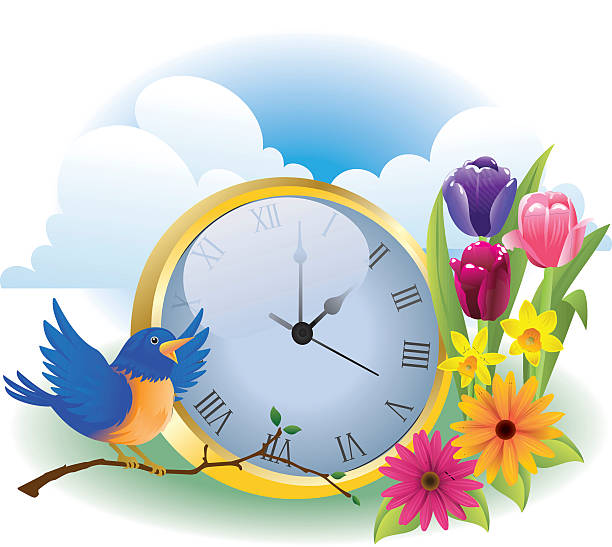 spring time - daylight savings time stock illustrations, clip art, cartoons, & icons