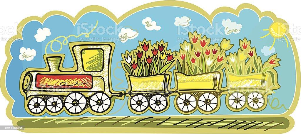 Spring Train royalty-free stock vector art