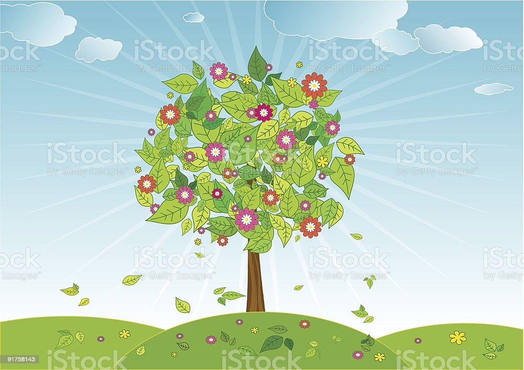 spring tree - vector royalty-free stock vector art
