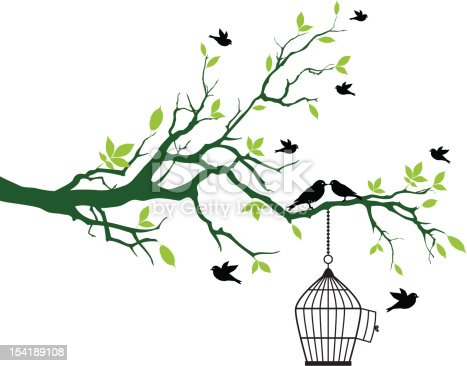 green spring tree with open birdcage and kissing birds, vector background