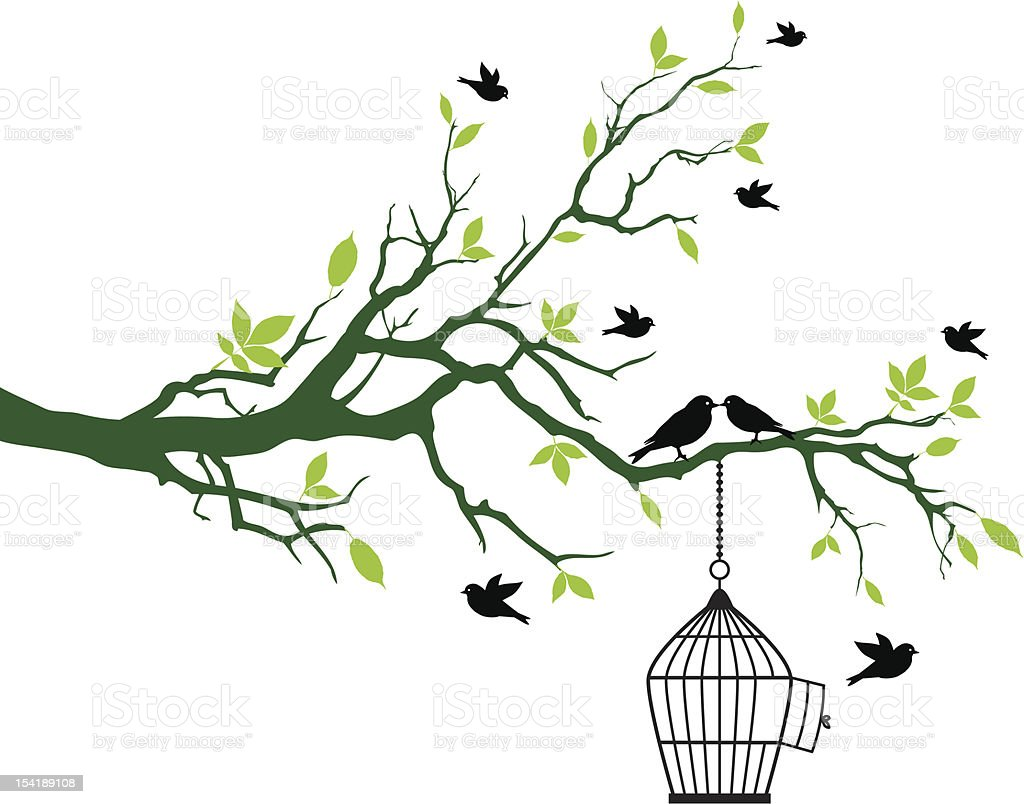 spring tree with birdcage and kissing birds vector art illustration
