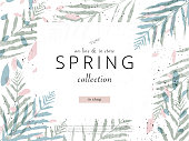 social media banner template for advertising spring arrivals collection or seasonal sales promotion. trendy hand drawn background textures and floral elements imitating watercolor paintings