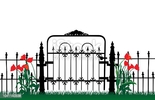 Entrance to the yard with flowers and iron gate